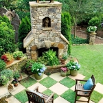 Checkered Outdoor Space With Beautiful Fire