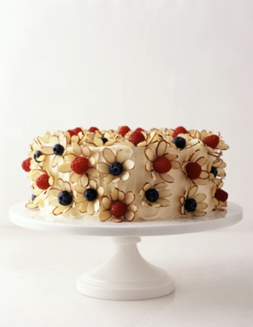 Almond slivers, raspberries and blueberries