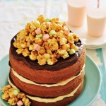 Peanut butter & chocolate cake with salted caramel popcorn